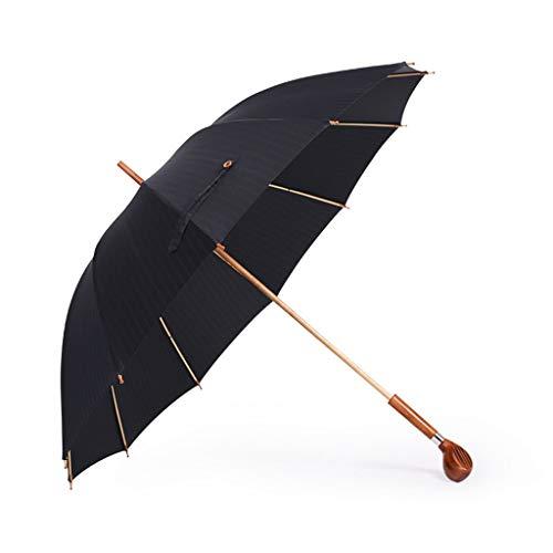 TIANYIP Spazierstock Regenschirm Golf Holzschnitzerei Regenschirm Langen Griff handgefertigten Regenschirm Bambus Regenschirm Sonnenschirm -
