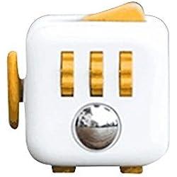 decompressione Fidget Cube anti–irritabilità ansia decompressione dice Vent Artefatto giocattoli creativi regali 6colori, White Yellow, 1.3 * 1.3 IN