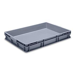 utz Euro-Stapelbehälter aus lebensmittelechtem PP - Traglast 20 kg, silbergrau - Inhalt 45 l, Außenhöhe 120 mm, VE 2 Stk - Alu-Schaukasten Euro-Stapelbehälter Kiste Lagerkasten Stapelkasten Stapelkasten aus Kunststoff Transportkiste aus Kunststoff