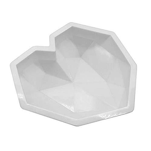 CDKJ Backformen Diamant-Herz formte Silikon-Fondant-Form DIY Backformen für Kuchen-Schokoladen-Pudding Dessert Moulds Weiß Küchengeräte und Zubehör
