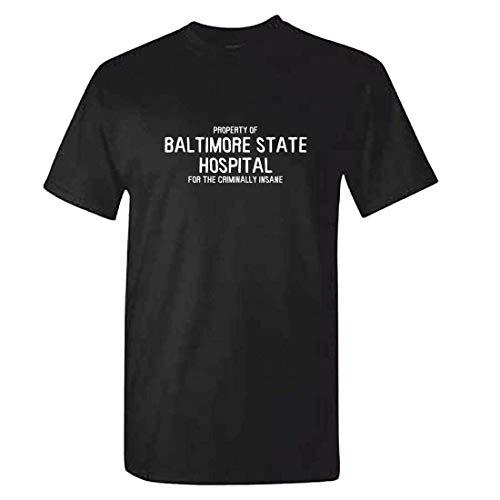 Nololy Baltimore State Hospital Lustige Sommer Männer 100% Baumwolle Mode Lose T-Shirt Grafik Druck T Persönlichkeit Casual Oansatz Top Männlichen Brief Anzahl Kurzarm Für Home Office (State Hospital)