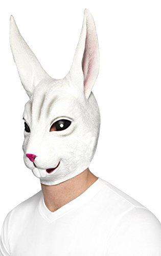 Smiffys, Unisex Hasen Gesichtsmaske, Ganzer Kopf, Latex, One Size, Weiß, (Coole Kostüme Machen Zu)