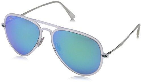 Ray Ban Unisex Sonnenbrille AVIATOR LIGHT RAY II, Gr. Large (Herstellergröße: 56), Mehrfarbig (Gestell: matt transparent,Gläser: grün verspiegelt blau 646/55)