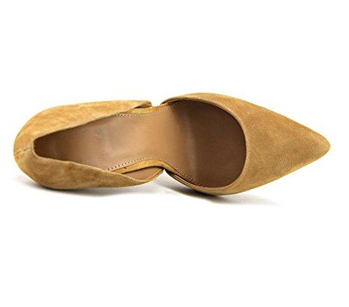 uBeauty Damen Stilettos Slip On Seite Hohl Pumps High Heels Geschlossene Große Größe Schuhe Braun