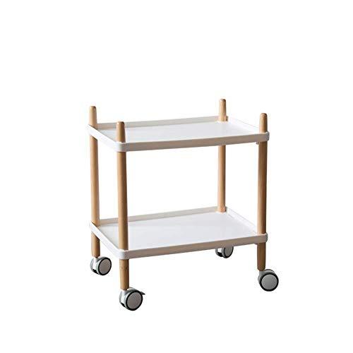 HUNYUAN-LF Servierwagen Küchenwagen, Ecken Einer kleinen Wohnung Einfache Mini Pkw-Massivholzwagen Creative Multi-Funktions-Beistelltisch (Color : White)