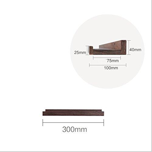 Floating Shelves Schwimmende Regale an der Wand befestigtes hölzernes Bücherregal-Wandspeicher-industrielles Shop-Anzeigen-Regal-Eiche Schwarze Walnuss-Farbe (größe : 300MM) -