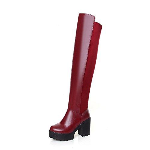AllhqFashion Damen Rein Hoher Absatz Rund Zehe Blend-Materialien Ziehen auf Stiefel, Schwarz, 35