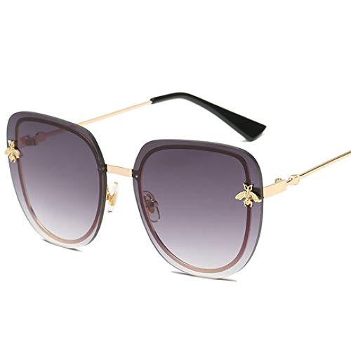 Hjyi Runde Großrahmen Persönlichkeit Farbfilm Skinny Gesicht Sonnenbrillen für Damen Polarisierte Aluminiumlegierung Rahmen Sonnenbrille Mode Fahren Sonnenbrillen UV400