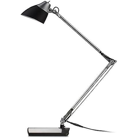 Lámpara LED Escritorio Plateada TaoTronics Lámpara Flexo 6W  (brazo flexible, cabeza rotatoria, cuidado a la vista, Diseño elegante, Color Negro + Plata Acabado)