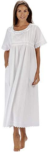 The 1 for U 100% Cotton Damen Nachthemd mit Taschen Viktorianisches Stil BN1 - Weiß Kurze Ärmel - Nicole, L -