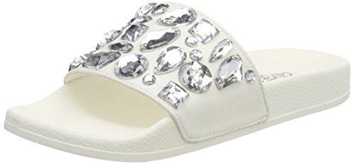 Colors of California Damen Eva Slipper with Plastic Stones Peeptoe Sandalen, Weiß (White), 38 EU