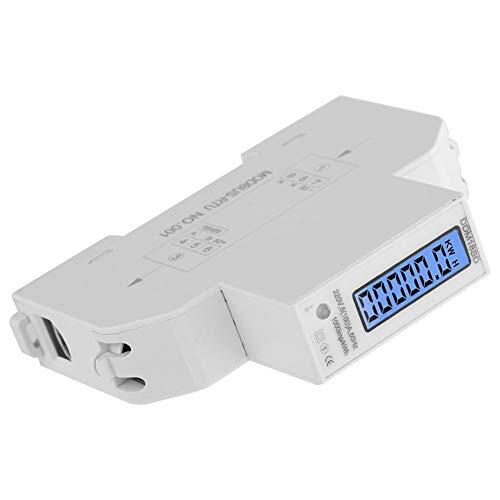 Medidor KWH de una sola fase, pantalla digital LCD retroiluminada de 5 a 100 A, barra DIN de una sola fase, consumo de energía eléctrico, medidor de vatios