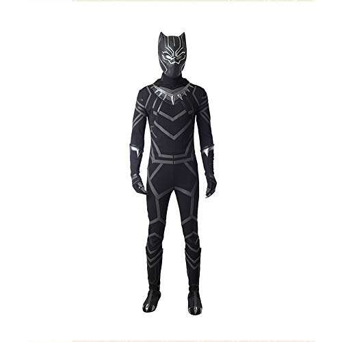 Black Panthers Kostüm Party - WEGCJU Klassische Black Panther Kostüm Halloween Kostüm Overall Party Leistung Kostüm Schlacht Kleidung Outfit Halloween Overalls Attire Movie Party Hero,S