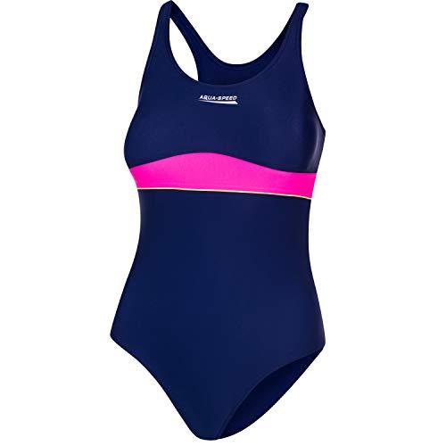 Aqua Speed Swimsuits One Piece Mädchen 7/8 Jahre I Badeanzug Kinder Schwimmen I Schwimmanzug Einteiler Marineblau rosa I UV Schwimmbekleidung I Sport I Navy Blue - pink I Emily