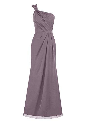 Dresstells, Epaule asymétrique robe de soirée, robe de cérémonie, robe longue de demoiselle d'honneur Gris