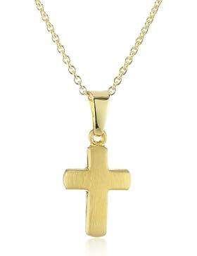Xaana Kinder und Jugendliche Halskette Kreuz 12 mm 8 Karat (333) Gelbgold mattiert + 925 Silber Kette vergoldet...