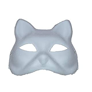 ASCRAFTS Hongbe 4x Cat Masks Feline Plain Full Mask to Paint & Decorate Venetian Masquerade Fancy Dress Mask