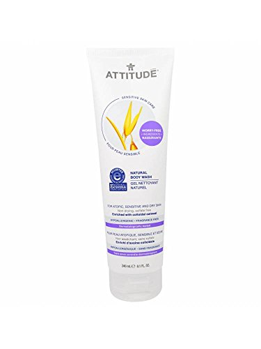 ATTITUDE - Gel Limpiador Natural - sin fragancia - hipoalergénico, perfecto para pieles extremadamente sensibles o atópicas - Certificado NEA - Vegano y Sin Crueldad - 240 ml
