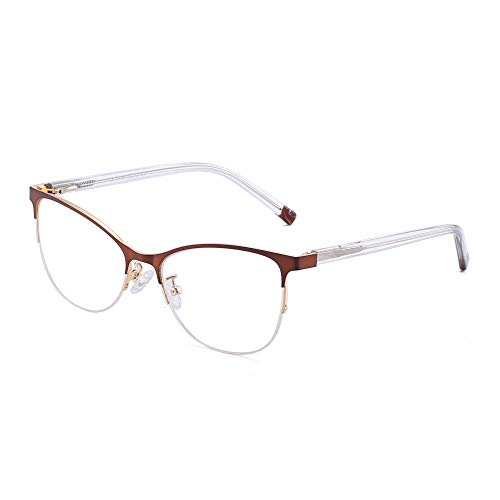 JIM HALO Halb Randlos Nicht Verschreibung Brillen Federscharnier Metall Gläser Damen Herren Braun Gold