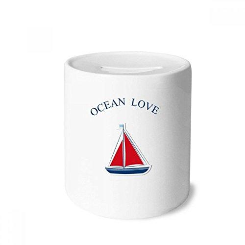 DIYthinker Segelboot-Ozean-Liebe Meer Segeln Blau-Geld-Kasten Sparkassen Keramik Münzfach Kinder Erwachsene 3.5 Zoll in Height, 3.1 Zoll in Duruchmesser Mehrfarbig