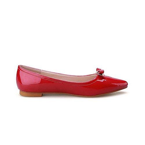 Weiches Flache Schuhe Spitz Zehe Ziehen Material Auf Aalardom Ohne Absatz Damen Rot q0HCUz