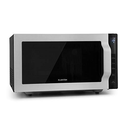 3197S2A2GvL. SS500  - Klarstein Brilliance Roomy Microwave with Grill-, 2-in-1 Microwave, 900 Watt Microwave, 100 Watt Grill, 25 Liter Cooking Space, 14 pre-Programmed menus, Stainless Steel Frame, Silver
