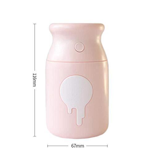 MIANQIANFQ Auto Luftreiniger Mini Tragbare Milchflasche Form USB Nachtlicht Ultraschallbefeuchtung Luftbefeuchter für Home Office Auto, Rosa
