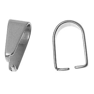 5 Stück Edelstahl Collierschlaufe Anhängerschlaufe Silber 9mm x 4mm