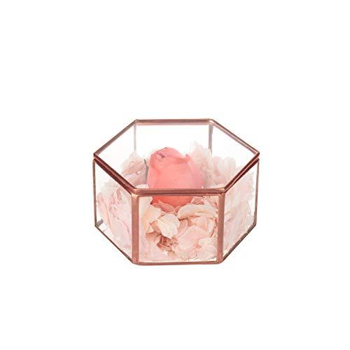 Feyarl Antikschmuck Schmuckkästchen Glasbox handgemacht Messing verzierte Ringe Ohrringe Box Konserviert Blume Glas Box Dekorative Box