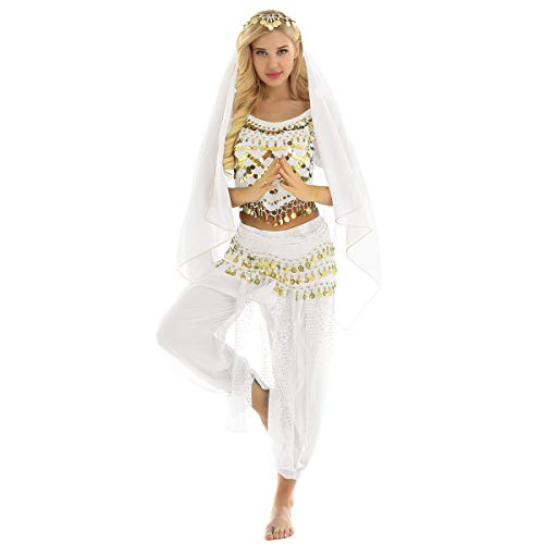 inlzdz Belly Dance Bauchtanz Kostüm Damen indischen Tanzkleidung 4tlg. Performance Outfits Set Oberteil+Haremshose+Kopftuch+Hüfttuch in 7 Farbe Weiß One Size