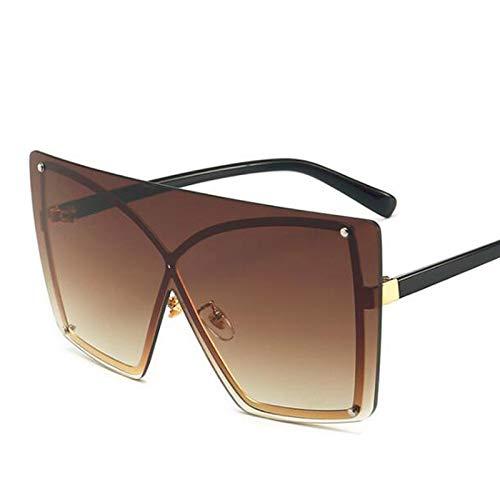 LXXSSRA Sonnenbrille Unisex Übergroße Randlose Sonnenbrille Mode Damen Metallrahmen Maske Sonnenbrille Frauen Big Shield Trendy Sonnenbrille Männer Uv400 E161 C8 Tee