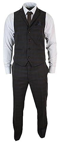 Ensemble costume pantalon gilet homme tweed marron à carreaux bleus et chevrons coupe cintrée slim look vintage