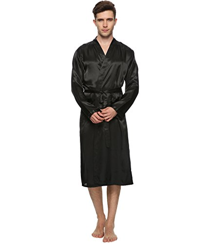 Herren Satin Kimono Robe Morgenmantel Lange Bademantel