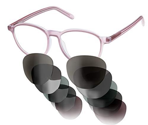 Sym Sonnenbrille aus Acetat mit HD Gläsern und wählbarer Gläserfarbe und Sehstärke (von -4.00 bis +4.00) | Modell 01 | Crystal Skin Tone Pink | Matt -