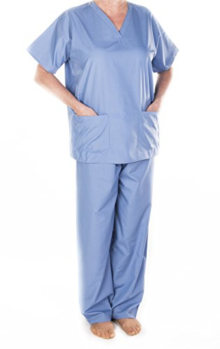 Solice. Medical Scrubs. Tunika & Pants Set, Krankenhaus, Ärzte, Workwear, Uniform, Unisex, Grün, Marine, blau, Größen XS, Small, Medium, Large, XL, XXL Gr. Medium, blau