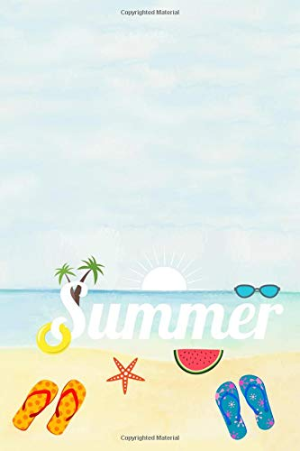 Summer Journal: Blank, lined notebook or diary (Beach theme, palm trees, starfish, watermelon and flip flops)