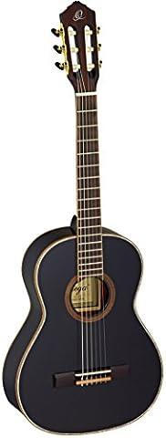 Ortega Guitars R221BK-3/4 Family Series 3/4 Body Size Nylon 6-String Guitar with Spruce Top, Mahogany Body, Black