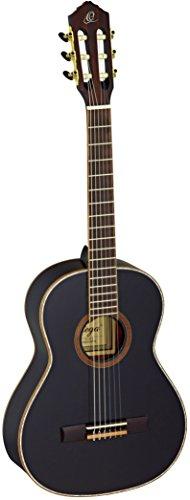 Ortega Guitars R221BK-3/4 Konzertgitarre in 3/4 Größe schwarz  im hochglänzenden Finish weißes Perlmut Deckenbinding mit hochwertigem Gigbag