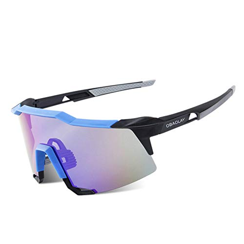 Coniea Fahrradbrille Sehstärke PC+TR90 Arbeitsbrille Herren Outdoor Brille Blau Schwarz Blau