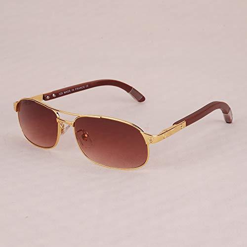 LKVNHP Neue Qualitäts -Sonnenbrille -Mann Markenname Gold Sonnengläser Für Mann Holzbein Silber Fashion SunglassBrown