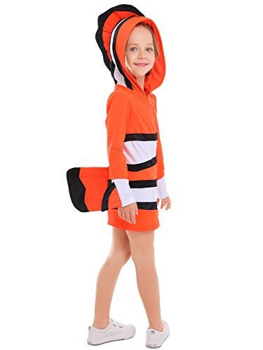 FStory&Winyee Kinder Clownfisch Kostüm Outfit Mädchen Cosplay Kleid Bunt Fisch Kostüm mit Kapuzen Karneval Verkleidung Party Halloween Fest Faschingkostüm für ()