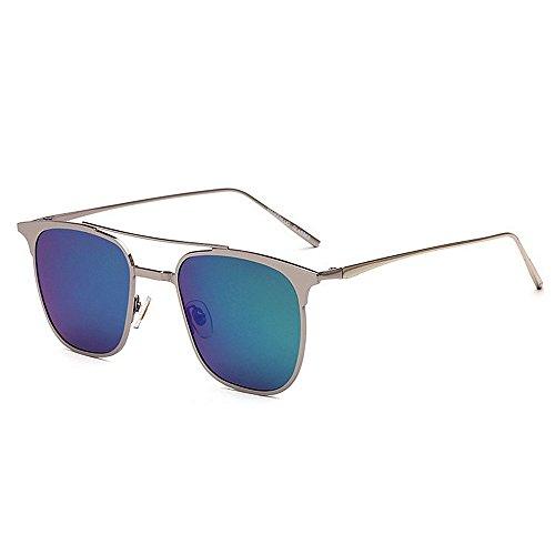 Y-WEIFENG Persönlichkeit Katzenaugen-Stil Männer Fahren Sonnenbrillen Metall umrandeten polarisierten UV-Schutz Sonnenbrillen (Farbe : Grün)