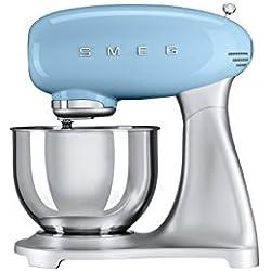 Smeg SMF01PBEU Stand mixer 800W Blue mixer - mixers (Stand mixer, 1 m, 4.8 L, Blue, Stainless steel, Aluminium, Stainless steel, Zinc steel)