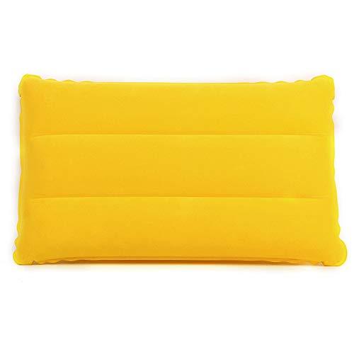 KBWL 42 * 25 cm Mini Travel Aufblasbare Kissen PVC Beflockung Nickerchen Platz Kissen Outdoor Wandern Rest Kissen gelb (Gelb Voll Bettwäsche)