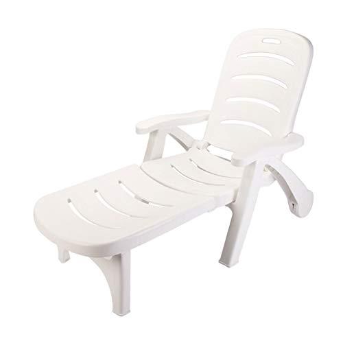 Yyty12 sdraio sedia da spiaggia con rotelle, antiscivolo, resistente all'usura, in plastica pieghevole (color : b)
