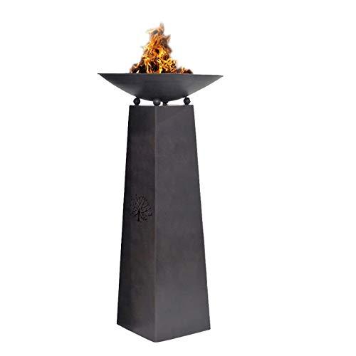 OUTLIV. Feuersäule Garten Tracy 27x50x102 cm Dekosäule Gartensäule Gartendeko Metall Rostbraun