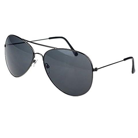 Xiahbong Unisex Klassische Metall Designer Pilot Sonnenbrillen UV Schutz Eyewear (A) (Schwarz)