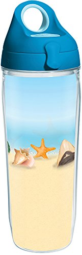 Tervis 1284943 Shells on the Beach Tumbler with Wrap and Turquoise Lid 24oz Water Bottle, Clear - Sand-souvenir-flasche