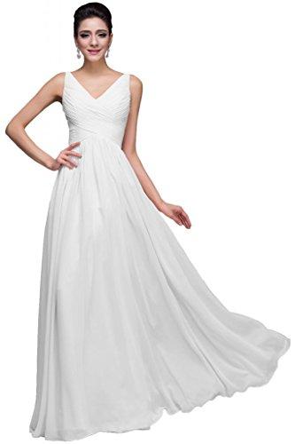 Sunvary Romantic fondo arricciato per Spaghetti in Chiffon Prom abiti da damigella d'onore White
