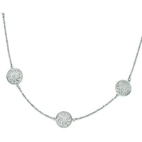 In argento Sterling placcato al rodio con diamante pendente dischi collana–76centimetri
